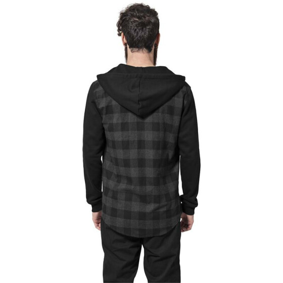 Urban Classics Hooded Checked Flanell Sweat Sleeve Shirt, blk/cha/bl