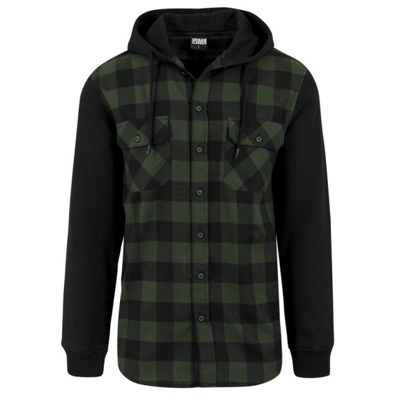 Urban Classics Hooded Checked Flanell Sweat Sleeve Shirt, blk/forest/blk