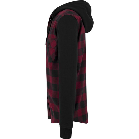 Urban Classics Hooded Checked Flanell Sweat Sleeve Shirt, blk/burgundy/blk