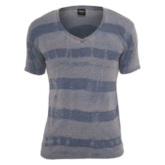 Urban Classics Fantasy Stripe Burnout V-Neck Tee, denimblue