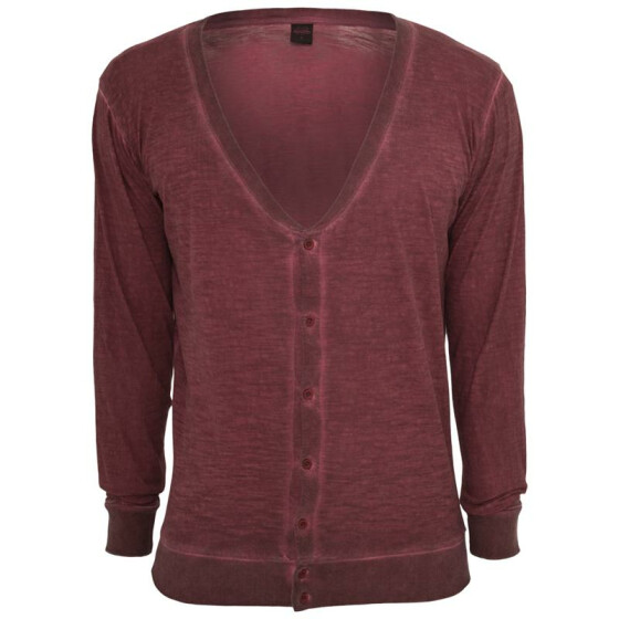 Urban Classics Spray Dye Slub Cardigan, ruby