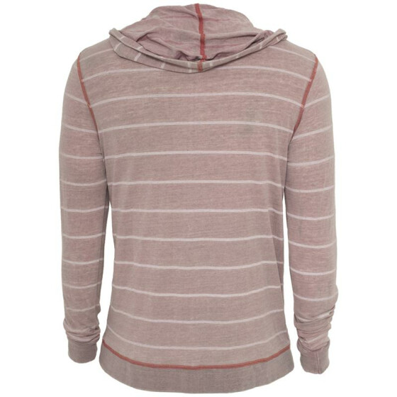 Urban Classics Striped Burnout Hoody, ruby/wht