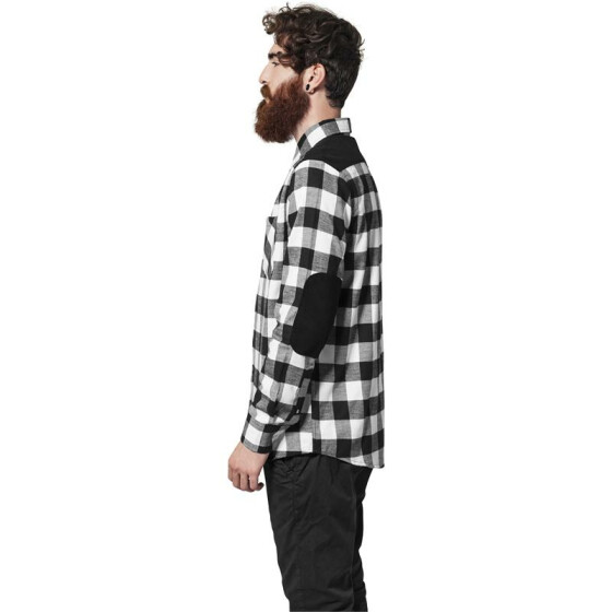 Urban Classics Cord Patched Checked Flanell Shirt, blk/wht