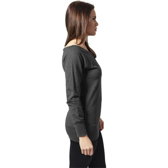 Urban Classics Ladies Wideneck Crewneck, charcoal