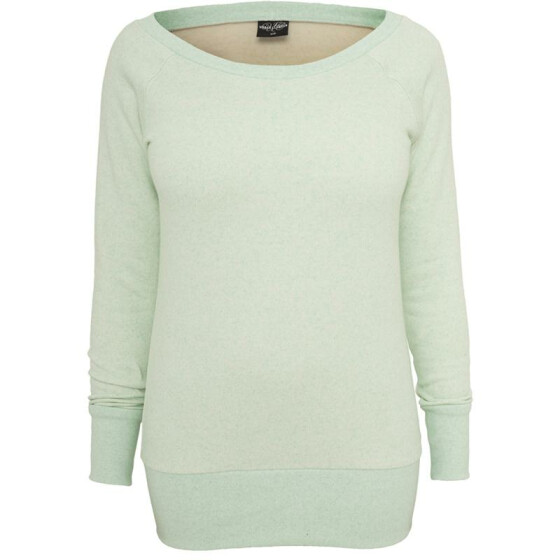 Urban Classics Ladies Melange Crewneck, mint/wht