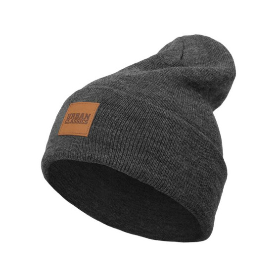 Urban Classics Leatherpatch Long Beanie, charcoal