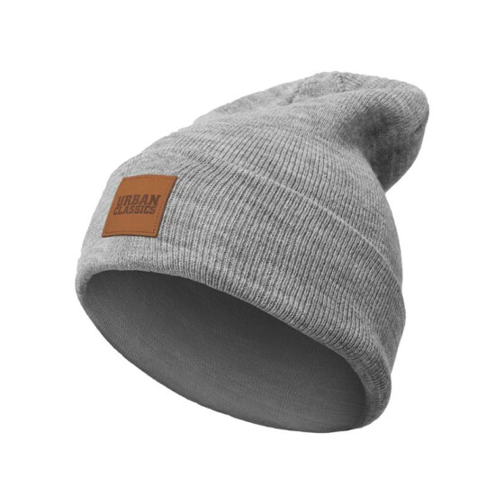 Urban Classics Leatherpatch Long Beanie, grey