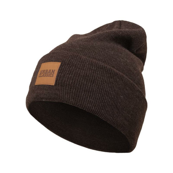 Urban Classics Leatherpatch Long Beanie, heatherbrown