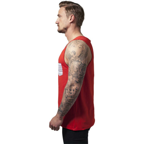Urban Classics Contrast Pocket Jersey Big Tank, red/wht/aztec