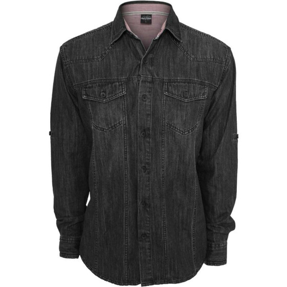 Urban Classics Heavy Denim Shirt, blackraw