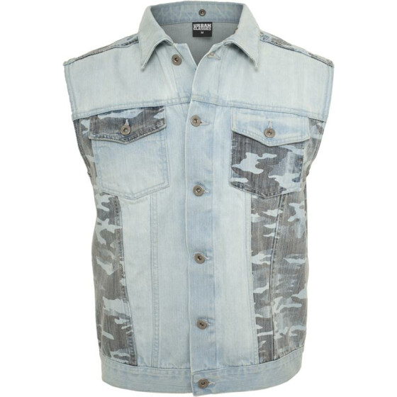 Urban Classics Hooded Camo Denim Vest, lightblue