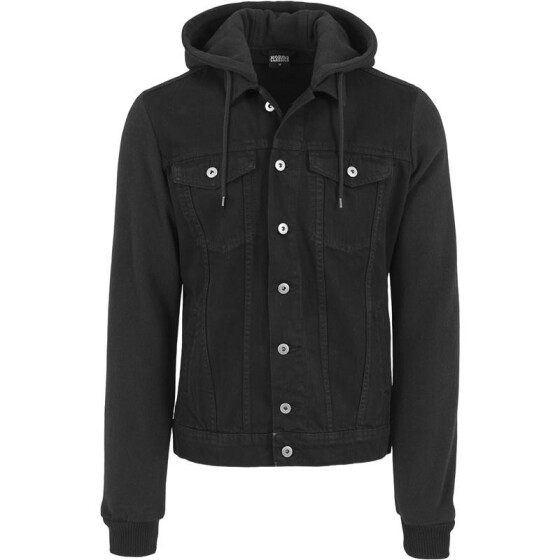 Urban Classics Hooded Denim Fleece Jacket, blk/blk