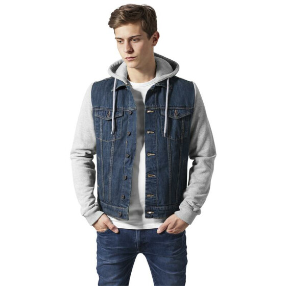 Urban Classics Hooded Denim Fleece Jacket, denimblue