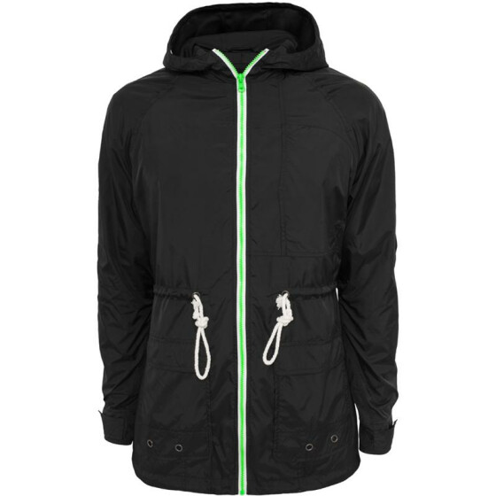 Urban Classics Long Nylon Windbreaker, blk/mint/wht