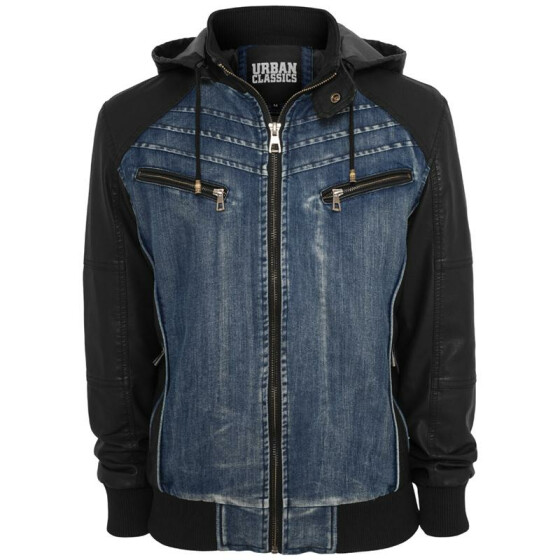 Urban Classics Hooded Denim Leather Jacket, denim/black