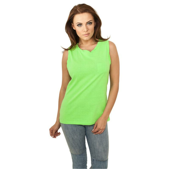Urban Classics Ladies Sleeveless Pocket Tee, neongreen