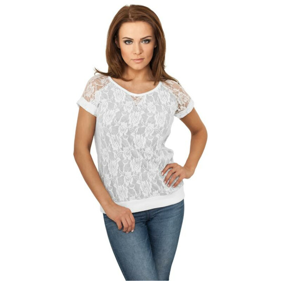 Urban Classics Ladies Double Layer Laces Tee, wht/gry