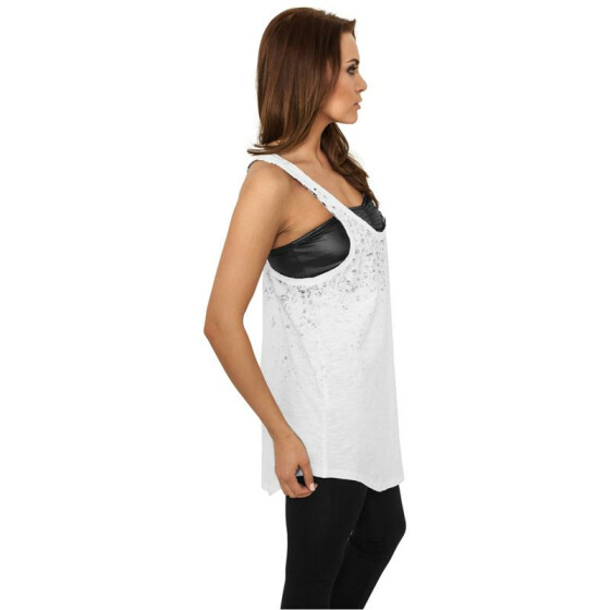 Urban Classics Ladies Long Leo Print Loose Tank, wht/blk