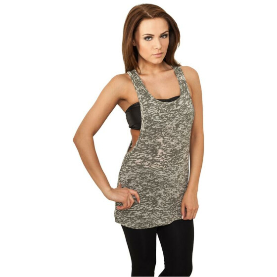 Urban Classics Ladies Melange Burnout Loose Tank, olive