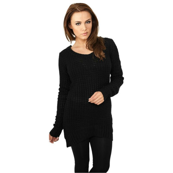 Urban Classics Ladies Long Wideneck Sweater, black