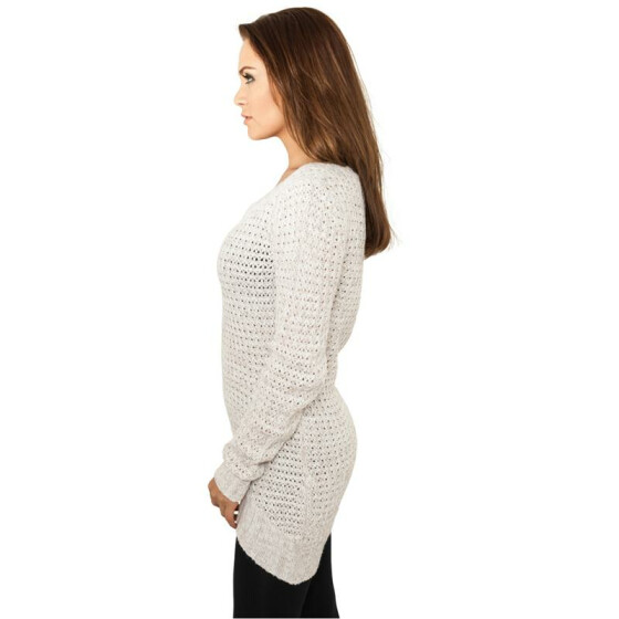 Urban Classics Ladies Long Wideneck Sweater, offwhite