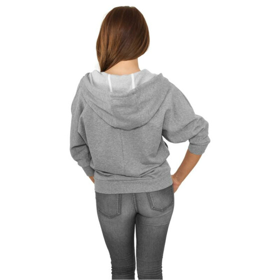 Urban Classics Ladies Bat 3/4 Sleeve Zip Hoody, gry/wht