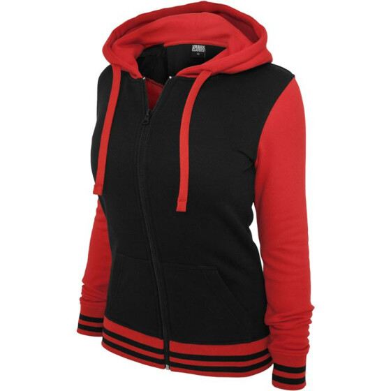 Urban Classics Ladies 2-Tone College Zip Hoody, blk/red
