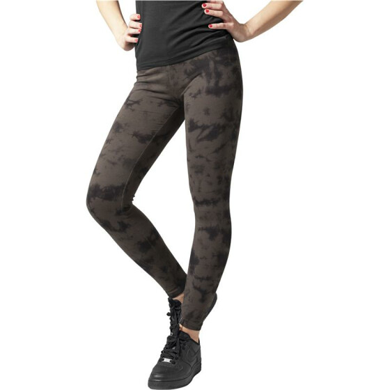 Urban Classics Ladies Acid Wash Splash Leggings, blk/gry