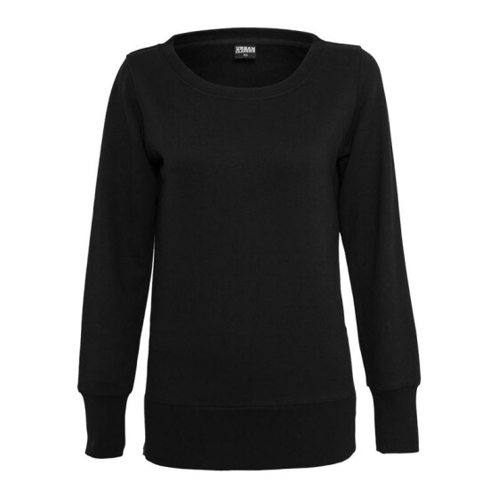 Urban Classics Ladies Side Zip Long Crewneck, black