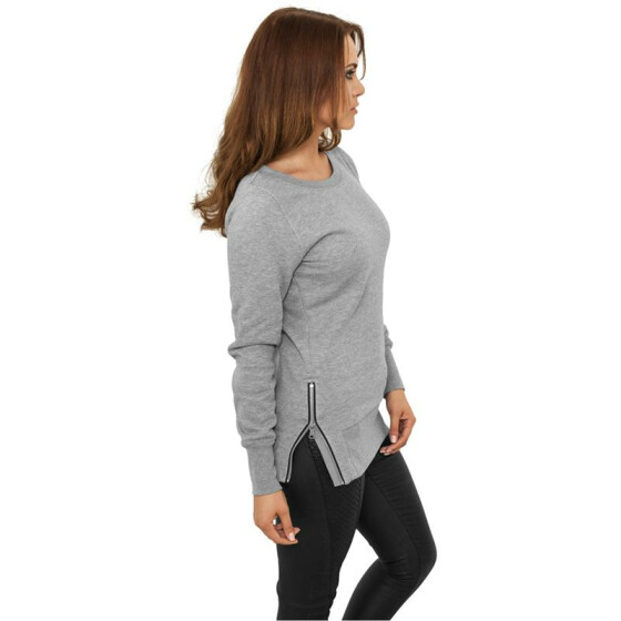 Urban Classics Ladies Side Zip Long Crewneck, grey
