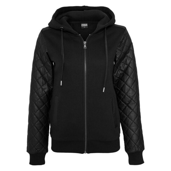 Urban Classics Ladies Diamond Leather Imitation Sleeve Zip Hoody, blk/blk