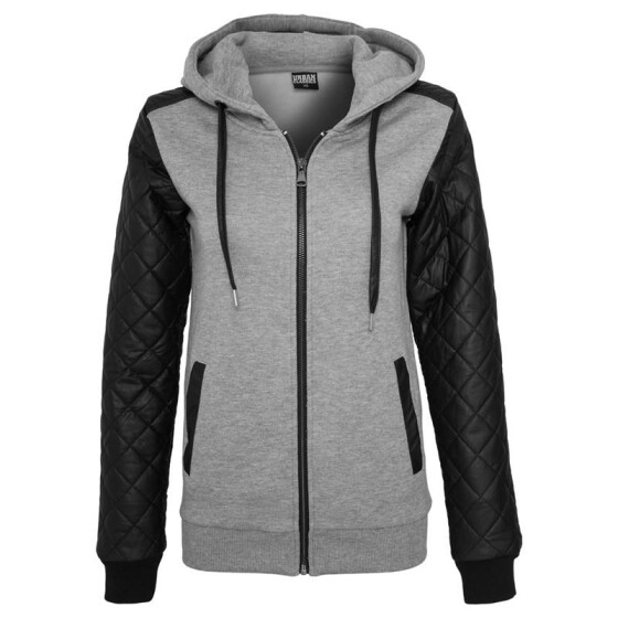 Urban Classics Ladies Diamond Leather Imitation Sleeve Zip Hoody, gry/blk