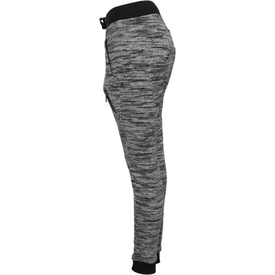 Urban Classics Ladies Fitted Melange Zip Sweatpants, blk/gry
