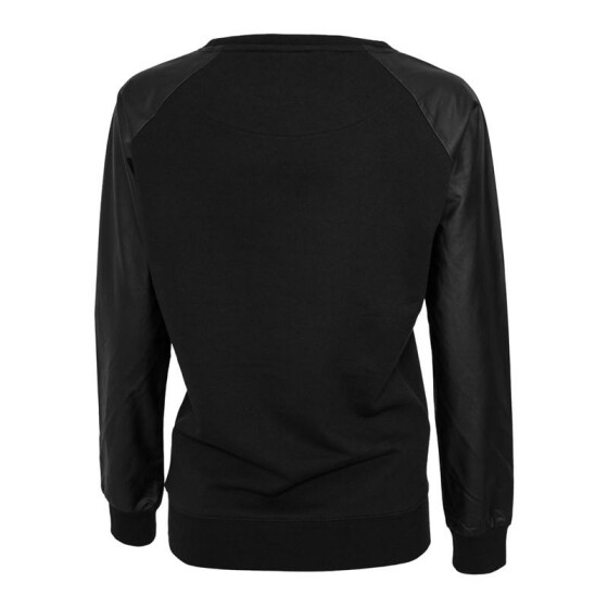 Urban Classics Ladies Leather Imitation Wideneck Crew, blk/blk