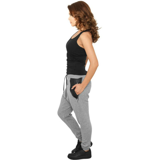 Urban Classics Ladies Side Zip Leather Pocket Sweatpant, grey