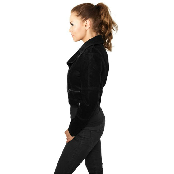 Urban Classics Ladies Short Biker Jacket, black