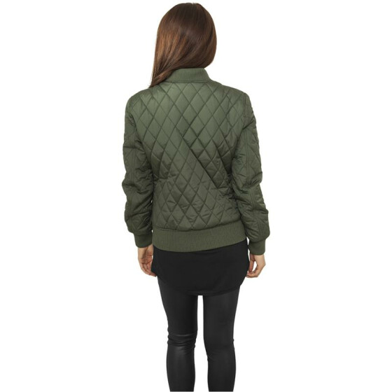 Urban Classics Ladies Diamond Quilt Nylon Jacket, olive
