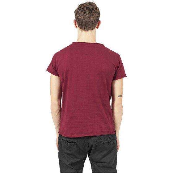 Urban Classics Fitted Peached Open Edge V-Neck Tee, burgundy