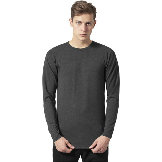 Urban Classics Fitted Stretch L/S Tee, charcoal