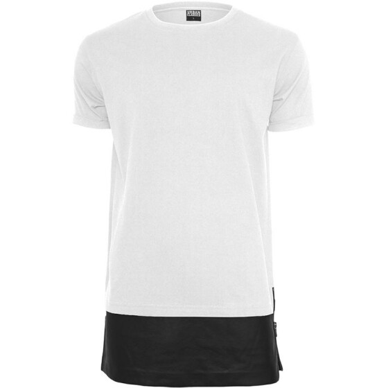 Urban Classics Long Zipped Leather Imitation Bottom Tee, wht/blk