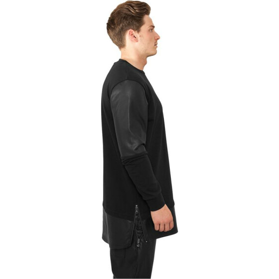 Urban Classics Long Zipped Leather Imitation Crewneck, blk/blk