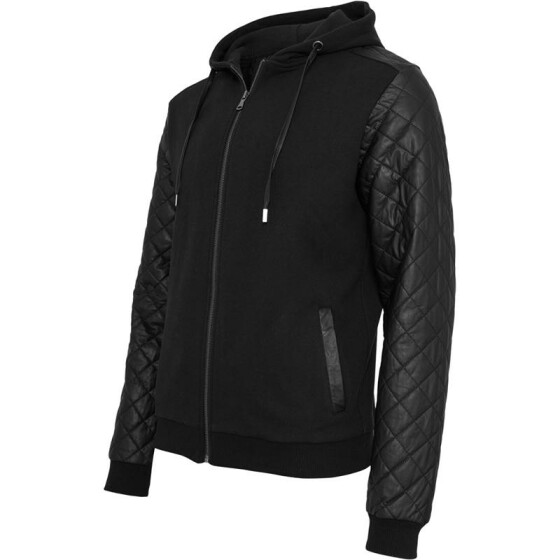 Urban Classics Diamond Leather Imitation Sleeve Zip Hoody, blk/blk