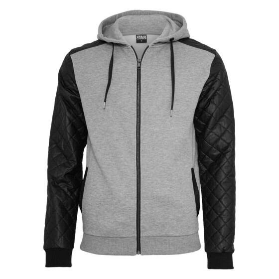 Urban Classics Diamond Leather Imitation Sleeve Zip Hoody, gry/blk
