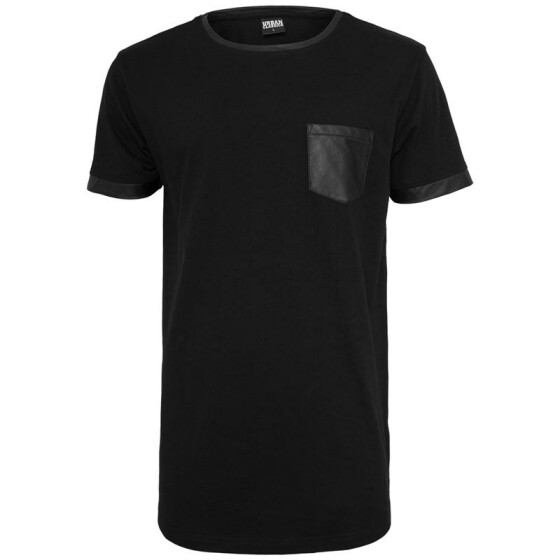 Urban Classics Long Shaped Leather Imitation Tee, blk/blk
