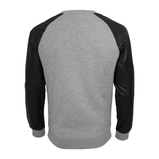 Urban Classics Raglan Leather Imitation Crew, gry/blk
