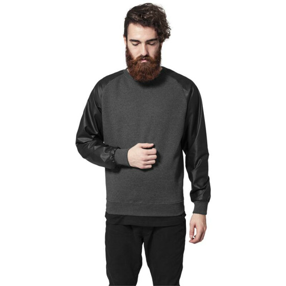 Urban Classics Raglan Leather Imitation Crew, cha/blk
