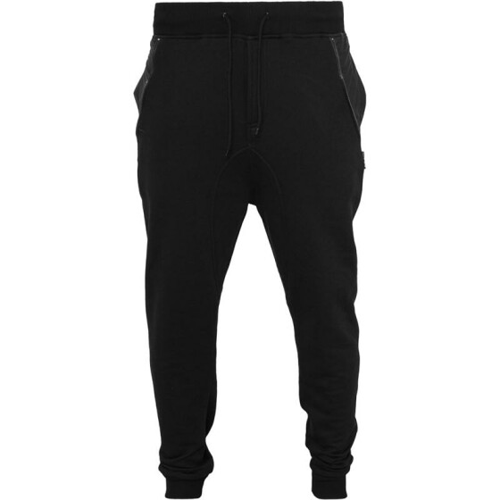 Urban Classics Side Zip Leather Pocket Sweatpant, blk/blk