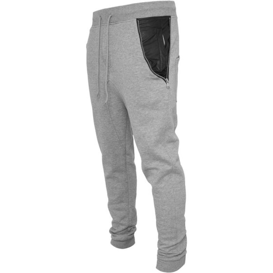 Urban Classics Side Zip Leather Pocket Sweatpant, gry/blk