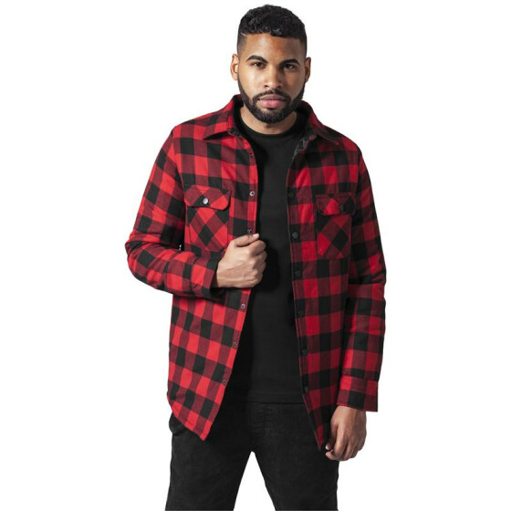 Urban Classics Padded Checked Flanell Light Jacket, blk/red