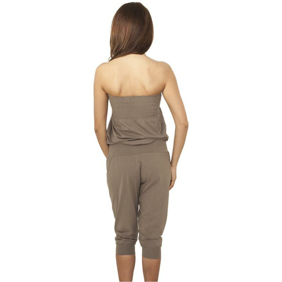 Urban Classics Ladies Shoulderfree Capri Jumpsuit, stone